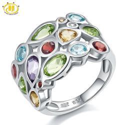 Hutang Gemstone Topaz Ring, Genuine Garnet Citrine 925 Sterling Silver Cluster Rings for Women, Fine Elegant Jewelry Gift