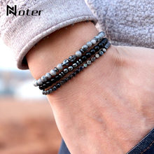 Noter 3pcs/Set Mens Skull Bracelet 4mm Small Beads Braslet Natural Obsidian Hematite Stone Brazalete For Hombre Accessories Man(China)