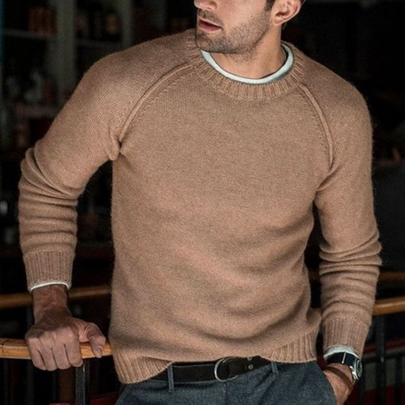 HEFLASHOR 2019 New Cotton Sweater Men Long Sleeve Pullover Outwear Man V-Neck Sweaters Tops Slim Solid Fit Knitting Clothing