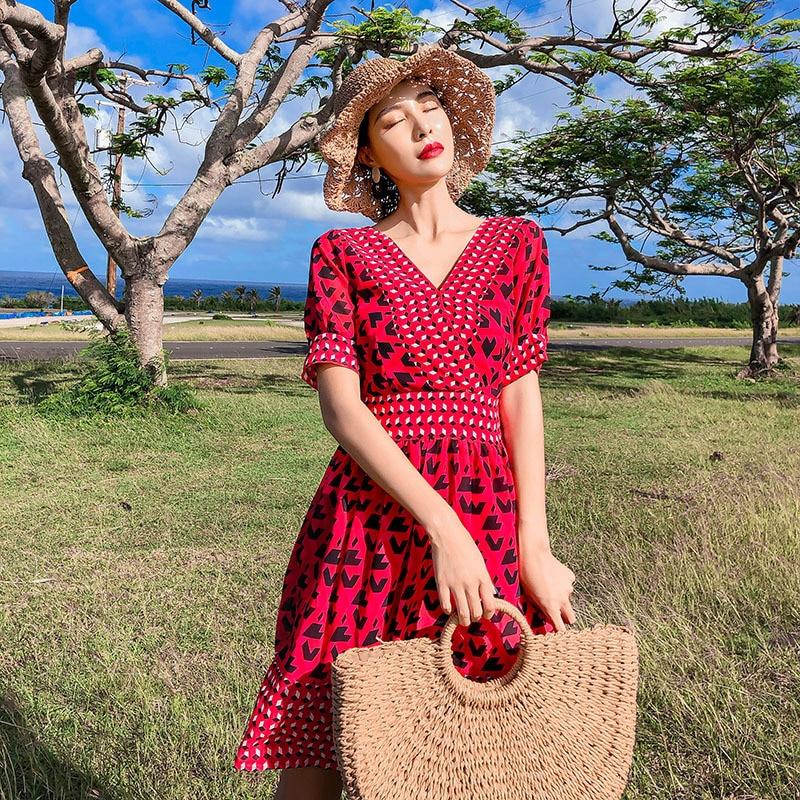 Photo Shoot Seaside Holiday Beach Skirt Women's Backless Chiffon Medium-length Dress National Wind Dress Thailand Holiday