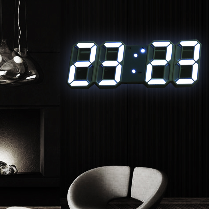 Led Digital Wall Clock Modern Design Wall Watch Clocks 3D Living Room Decor Table Alarm Nightlight Luminous Desktop title=