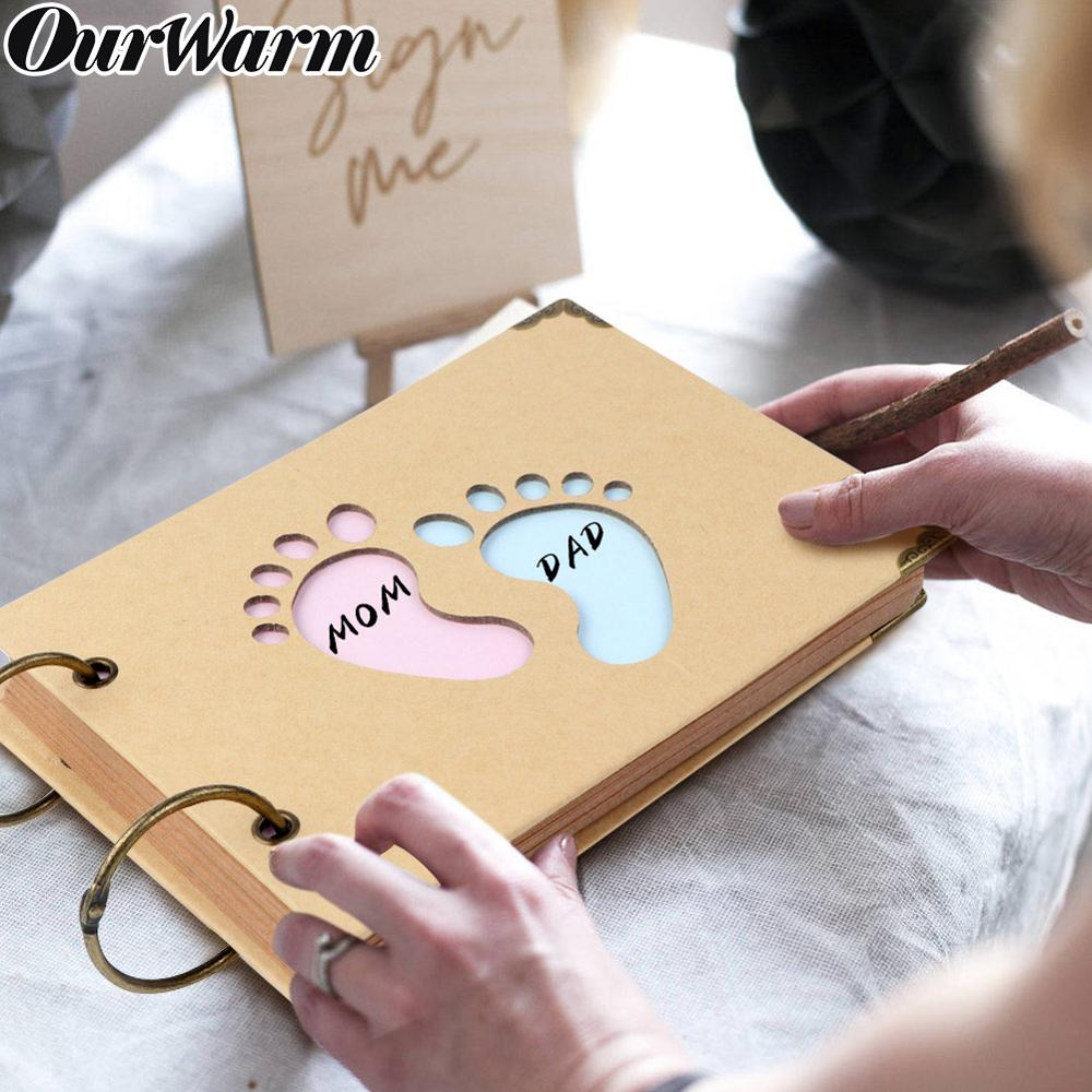 OurWarm Baby Shower Guest Book  Signature Elephant Design Kraft Paper Guestbook Advice Cards Birthday Party Decoration
