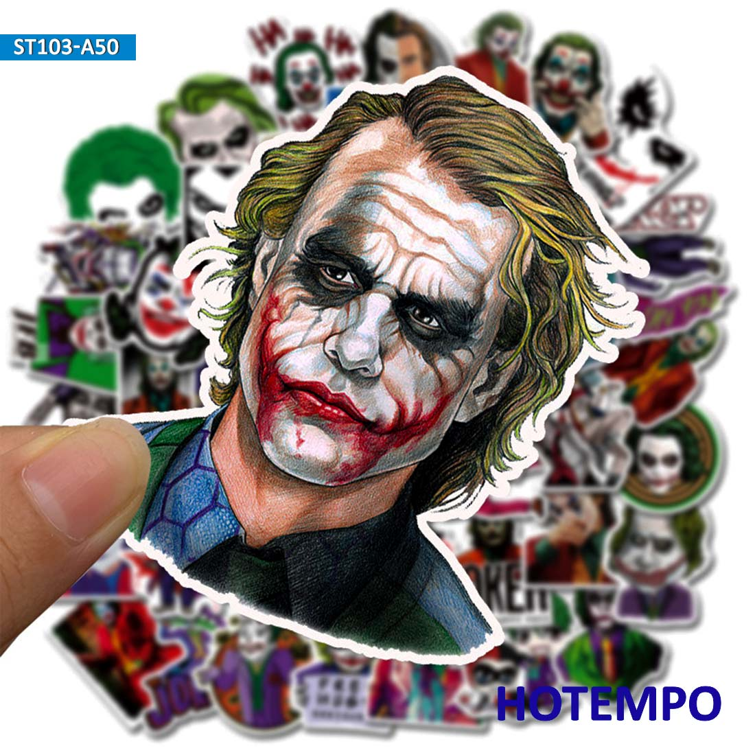 50pcs Jokes On You Comic Movie Joker Style Stickers Smile For Mobile Phone Laptop Luggage Case Skateboard Anime Cartoon Stickers