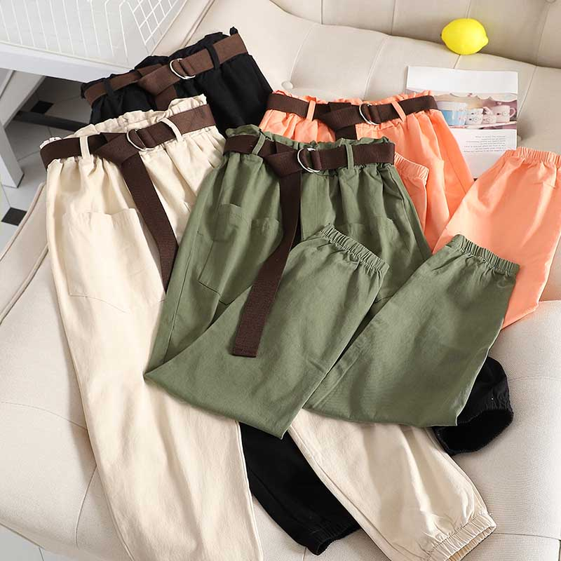 Summer New Cargo Pants Women High Waist Solid Loose Harem Pant Fashion Casual All Match Harajuku Trouser Streetwear