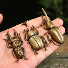 Antique Bronze Solid Beetles Miniature Figurines Tea Pet Table Ornament Vintage Brass Pocket Beetle Sculpture Study
