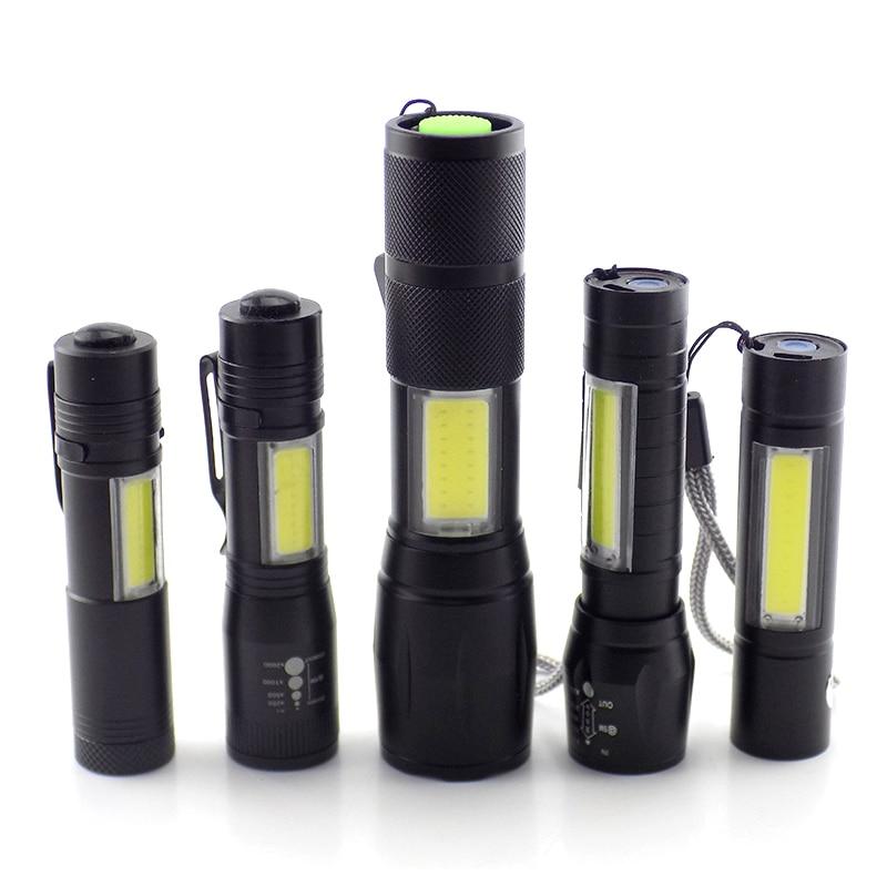 Mini High Power 2 LED COB Q5 Flashlight USB Linterna Work Flash Light Torch Rechargeable Battery Lamp Camping Linternas