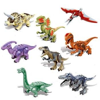 8pcs Jurassic Dinosaurs Blocks Tyrannosaurus Rex Wyvern Velociraptor Stegosaurus Building Kits Toys For Children Dinosaur Gift large 2 pcs set jurassic park dinosaurs world tyrannosaurus cartoon assembled toys model building blocks gift for kids legoing