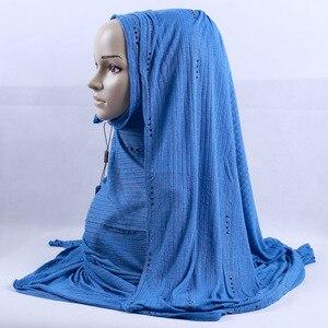 Image 2 - 200x120cm KASHKHA Brand Lavorato A Maglia Lunga Sciarpa di Strass Ceco Musulmano Velo Hijab Diamanti Di Lusso Della Banda Wrinked Impacchi di Testa