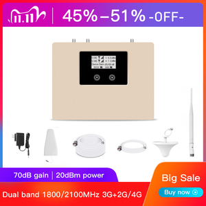 Image 1 - New Arrival!LCD display 2g 3g 4g mobile signal booster DUAL BAND 1800/2100mhz cellular signal cell phone repeater amplifier kit