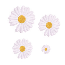 White pink purple Sunflower Daisy Flower Embroidered Iron On Patches for Clothes Dress