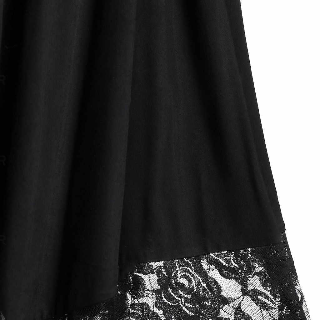 Mujeres Halloween de talla grande abierto hombro encaje media manga vestido gótico vestidos de fiesta de noche vestidos de verano Vintage