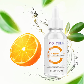 Mo tulip 25% natural vitamin c serum liquid hyaluronic acid essence hydration anti aging anti wrinkle skin serum 30ML