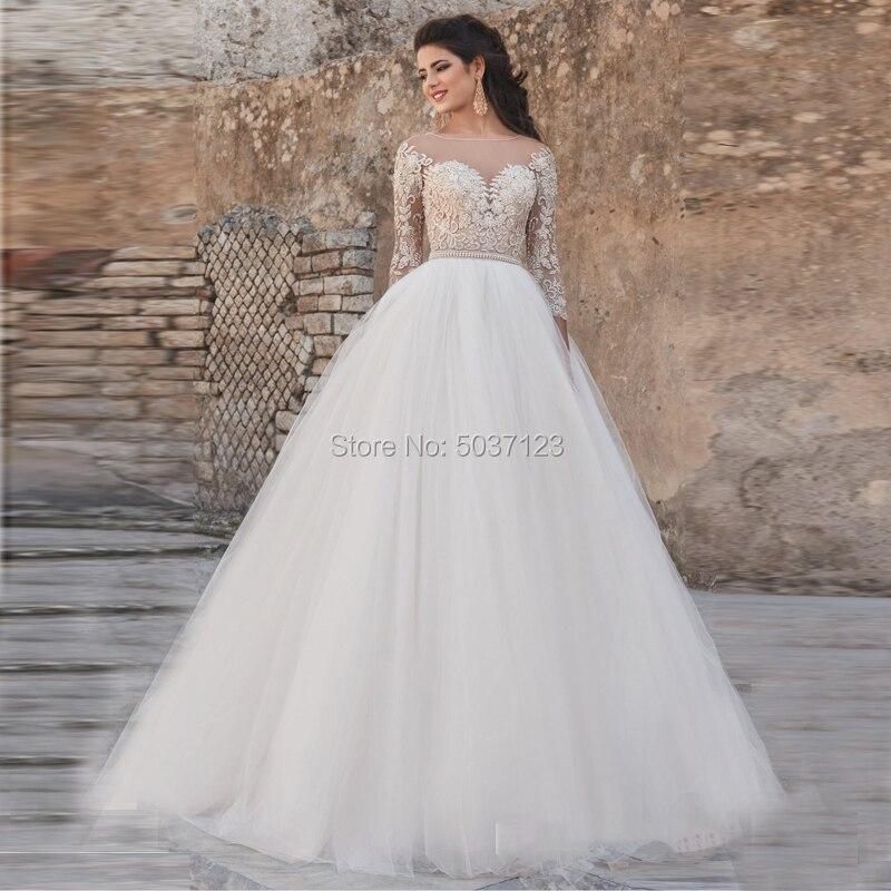 Vestido De Noiva Long Sleeve Wedding Dresses Scoop Gold Lace Appliques Sleeveless Court Train A Line Bridal Gown Button Illusion