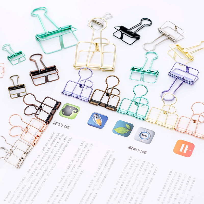 1set Colorful Hollowed Metal Paper Clips Stationery Cute Paperclip Bookmarks Rose Gold Office Decorative Dovetail Binder Clip