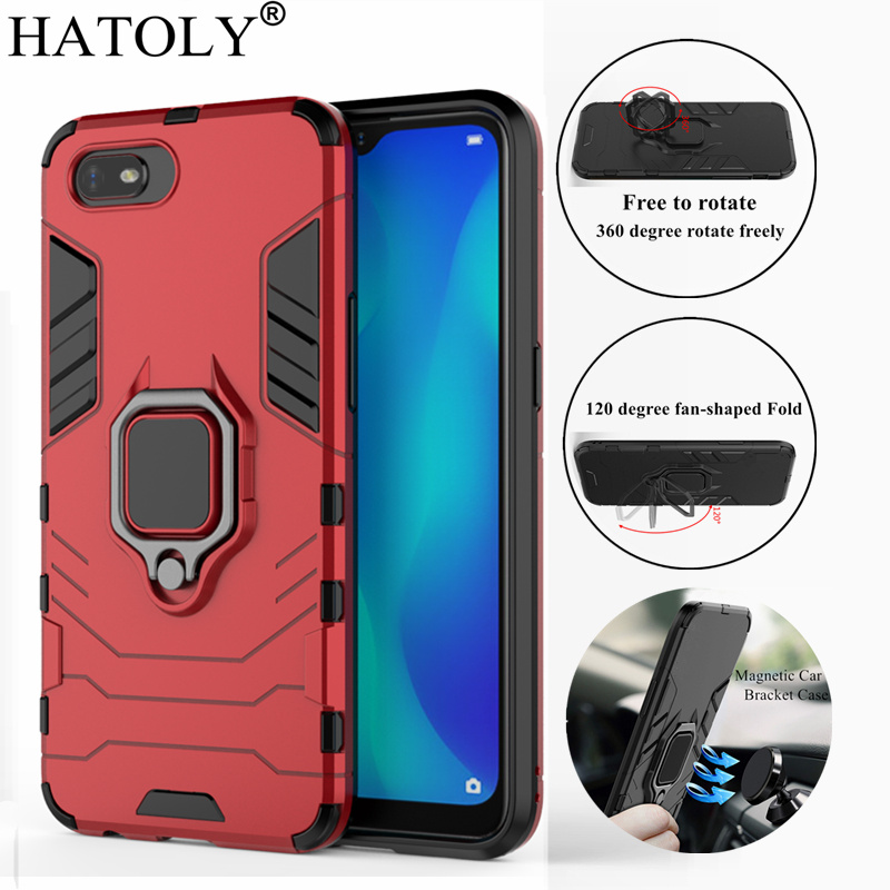 HATOLY For OPPO Realme C2 Case Oppo A1K Cover Magnetic Suction Ring Bracket Cases Silicone Hard Armor Cover for OPPO Realme C2