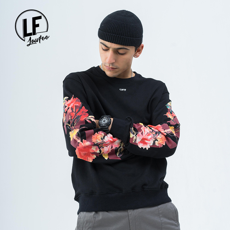 Lawfoo Men'S Wear  Popular Brand Autumn And Winter New Products Ow Flower Arrowhead Printed Couples Pullover Looped Pile Hoo