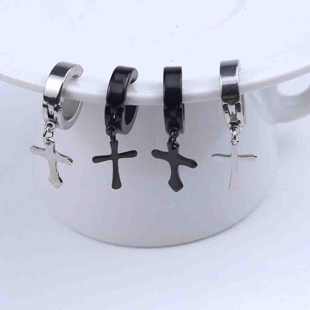 Vintage Cross Design Men Metal Ear Hooks Ear Stud Non Piercing Clip Earrings Fake Earrings For Boyfriend Lover Hot Fashionable