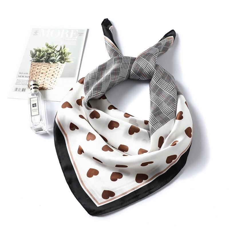 Luxury Brand Designer Silk Scarf Hijab Women Heart-shaped Pattern Shawls Gift For Lady High Quality Neckerchief Foulard Bandana