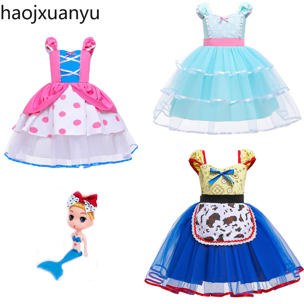 Summer Toy Story 4 Bo Peep Costume Cosplay Girls Dress Halloween Costume For Kids Carnival Party Dress Up ClothingGirls Costumes   -