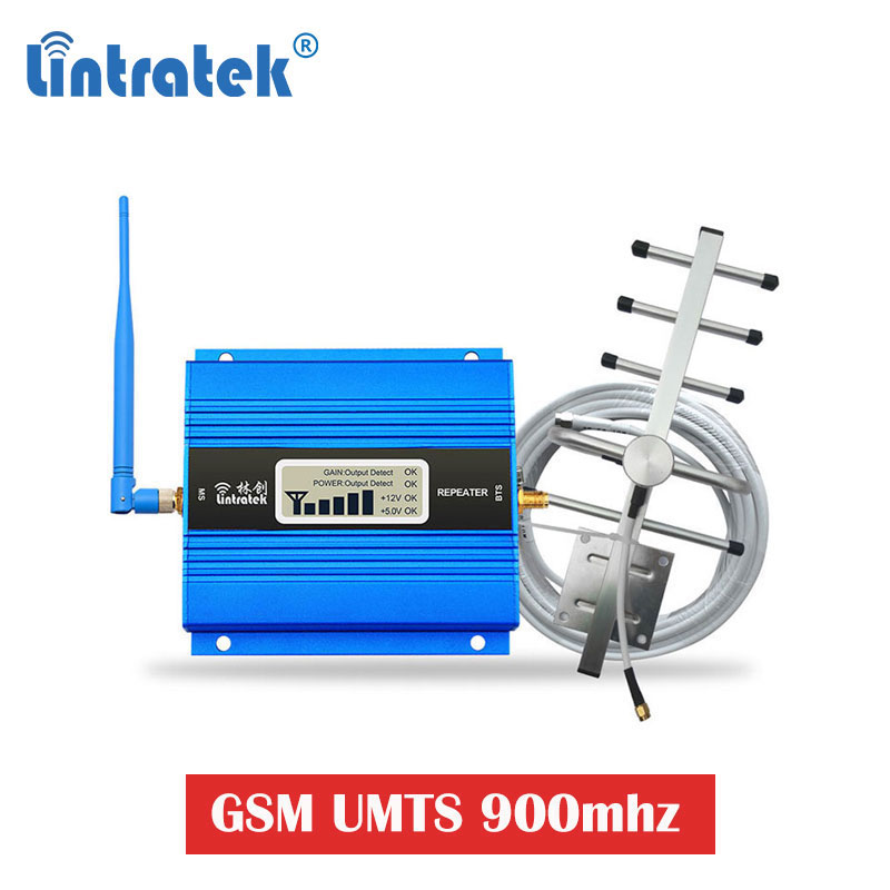 Lintratek GSM 900 Celular Amplifier LCD UMTS 900mhz Cell Phone Repeater Signal Booster Voice Call Antenna Yagi+whip 10m Kit Ak