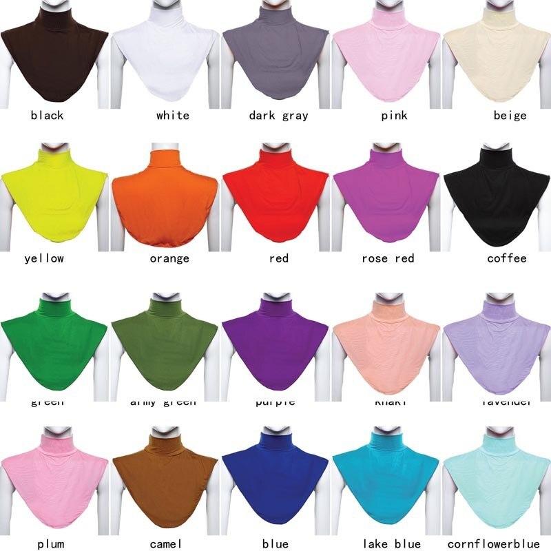 Women Modal False Collar Hijab Moslem Islamic Pure Color Neck Cover Loop Scarf