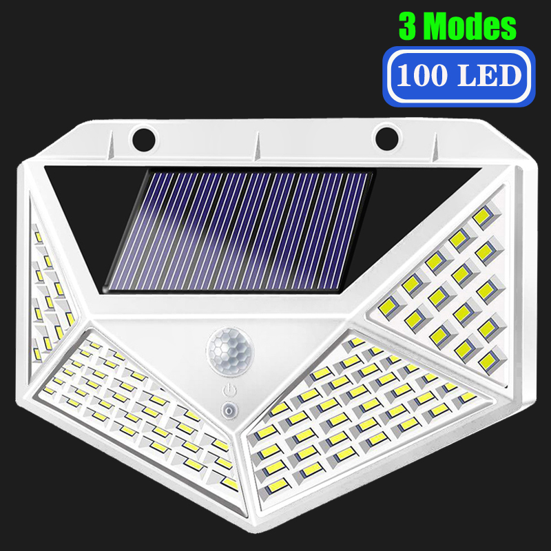 100 LED Solar Light Outdoor Solar Lamp  Wall Light 3 Modes Conversion Waterproof Solar Powered Sunlight For Garden Decoration