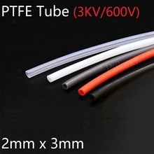 PTFE Tube ID 2mm x 3mm OD F46 Insulated Capillary Heat Protect Transmit Hosing Rigid Pipe Temperature Corrosion Resistance 600V