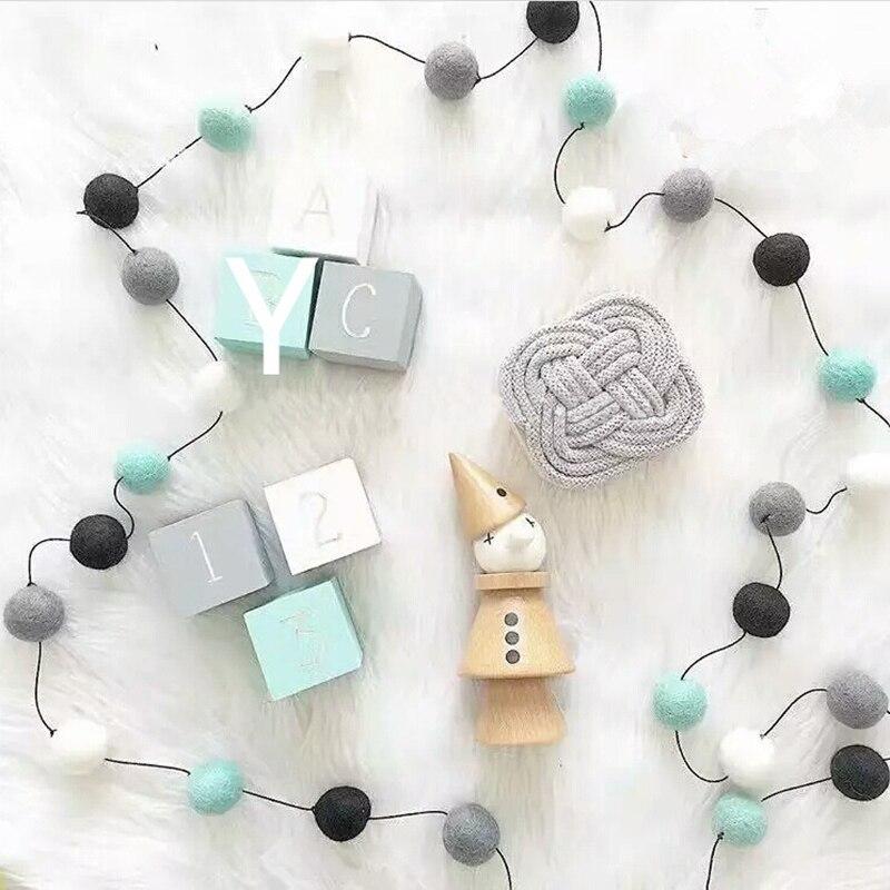 Colorful Hair Ball Pendant Garland Ins Nordic Series Wool Felt Ball String DIY Handmade Nursery Children Room Decor(China)