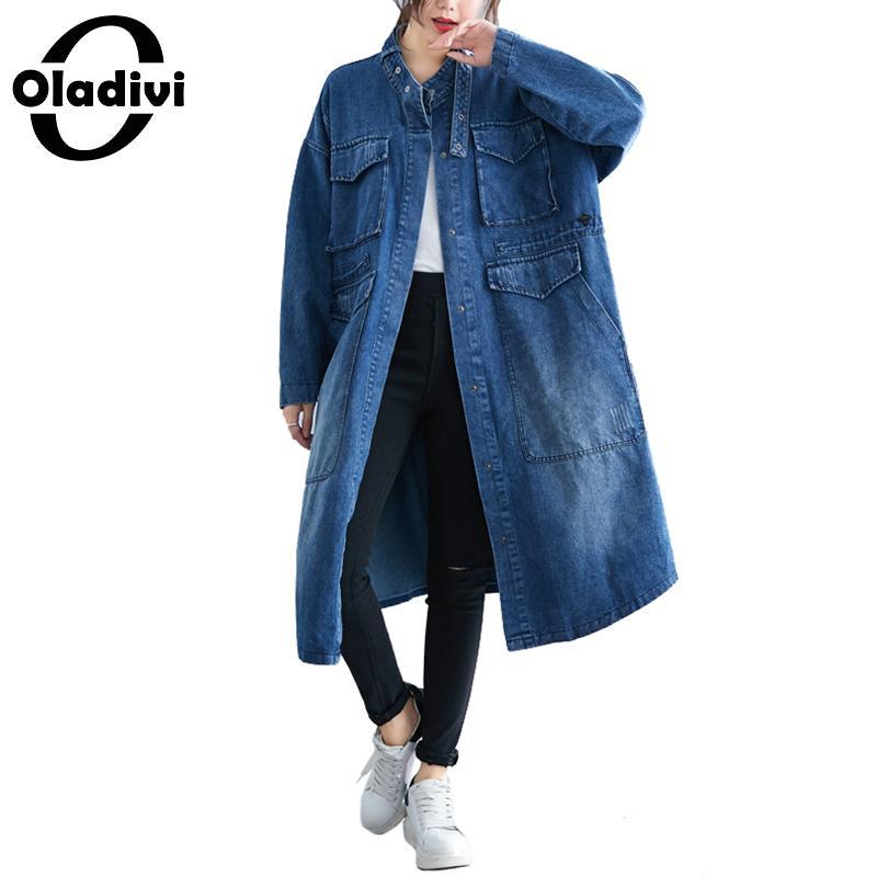 Oladivi Plus Size Women Denim Shirts Fashion Lady Casual Jeans Trench Coat 2019 Spring Autumn Cardigan Female Top Tunic Overcoat