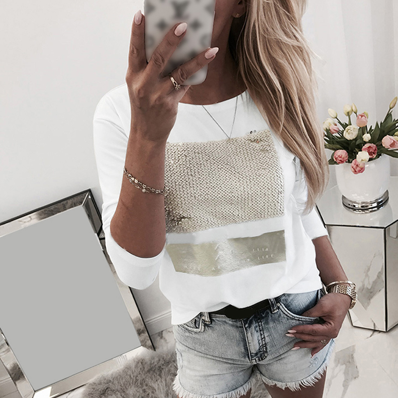 White Sequined Letters Printed Fashion Women Casual Long Sleeve T-shirt Ladies O Neck Korean Harajuku Tops Tee 2020 SJ5602M