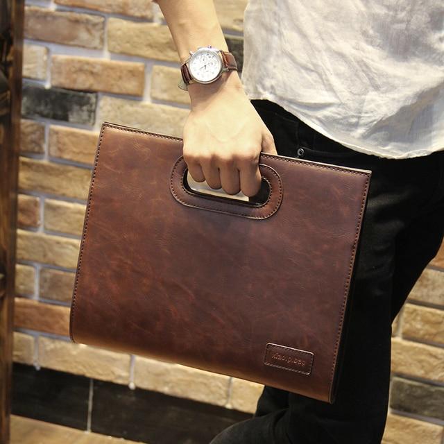 Business Casual Men Leather Designer Handbag High Quality Male Wallet Famous Brand Mens Large Capacity Clutch Bag Brown black
