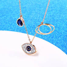 Fashion Eye Of The Demon Pendant Necklace Rose Gold Color Titanium Stainless Steel Chain Necklace Trendy Women Jewelry Gift YL9 new arrival gold color stainless steel rivet pendant necklace fashion jewelry summer long women chain necklace birthday gift