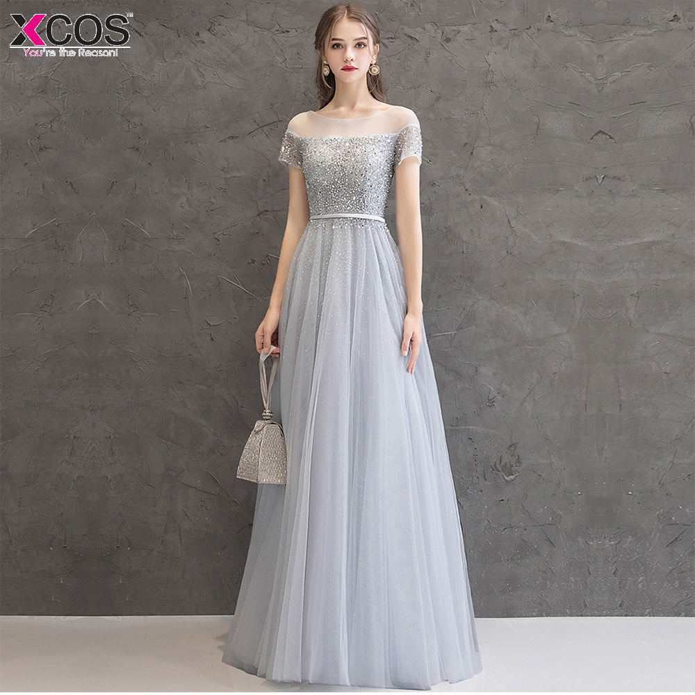 New Gray   Prom     Dresses   Long Elegant Cap Sleeve Scoop Sequined Sparkle A Line Party Gowns Sexy Vestido Largo De Fiesta 2019