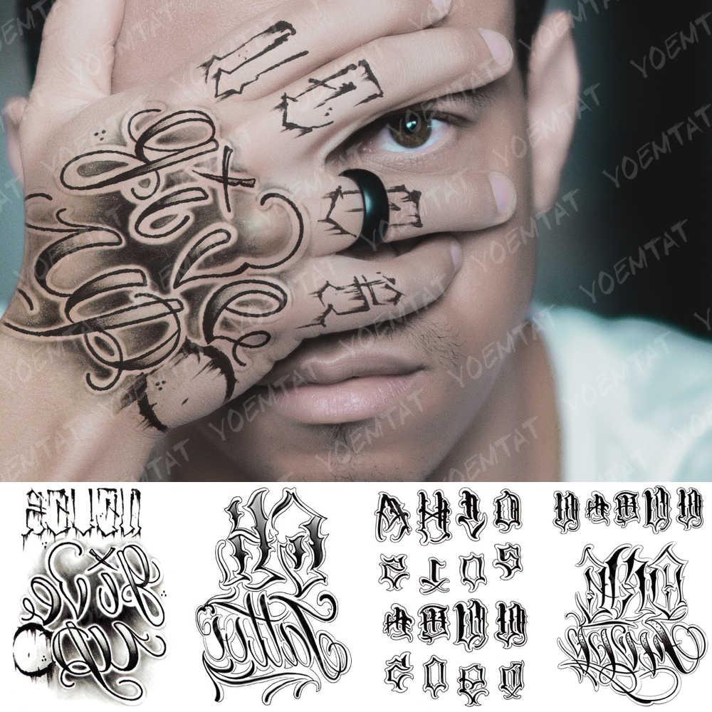 Tahan Air Stiker Tato Sementara Totem Bunga Teks Palsu Tidak Pernah Menyerah Tatto Flash Tato Tangan Lengan Mahkota Harimau Tato Tubuh seni