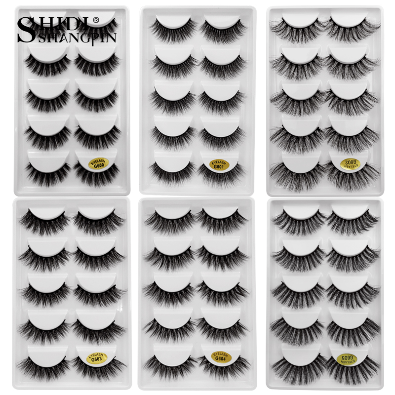 1/5 Pairs Mink Eyelashes 3D False Lashes Winged Thick Make Up Eyelash Dramatic Lashes Natural Volume Soft Fake Eye Lashes