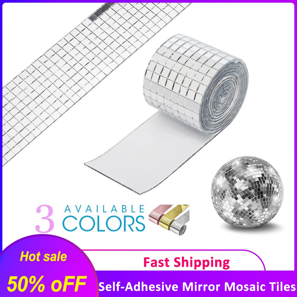 4392pcs Self-Adhesive Real Glass Mirror Mosaic Tiles Mini Square Round Glass Craft DIY Handmade Crafts,Party Home Decoration