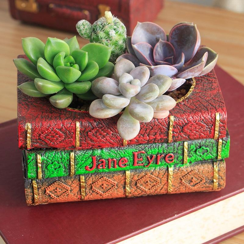 European Style Flower Pot Vintage Resin Flowerpot Succulent Plants Planter Book Storage Box Home Garden Decoration Bonsai