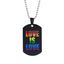 Fashion LGBT Gay Pride Rainbow Girl Boy Symbol Necklaces Pendant Stainless Steel Necklace Men Jewelry(China)