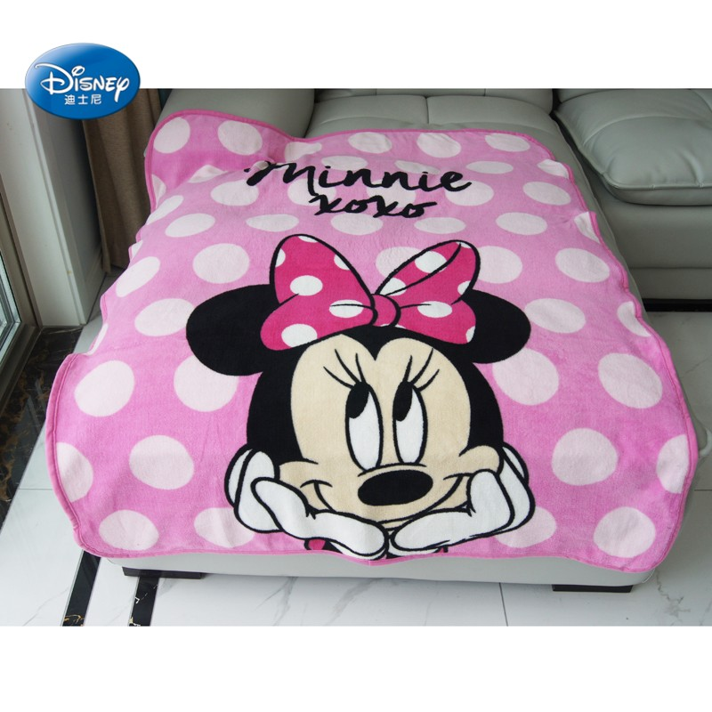 Disney 2019 Light Pink Minnie Mouse Coral Fleece Blanket Throw 100x120cm For Baby Girls On Bed Crib Plane