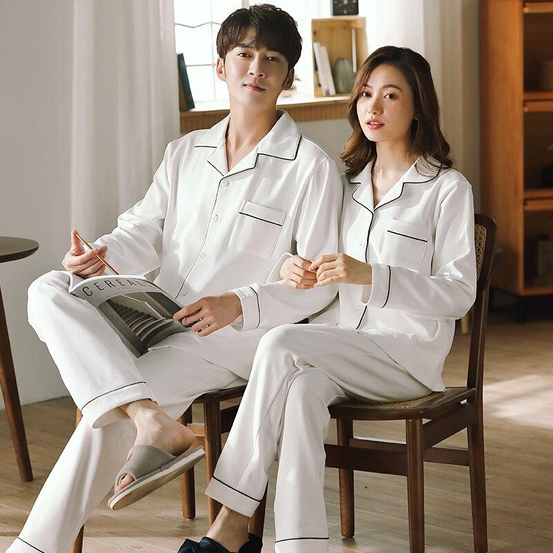 Spring 100% Cotton Couple Pajamas for Men and Women 2 Pcs Pijamas Set Lounge Bedroom Home Clothes Pure Cotton Pyjamas Couple Set