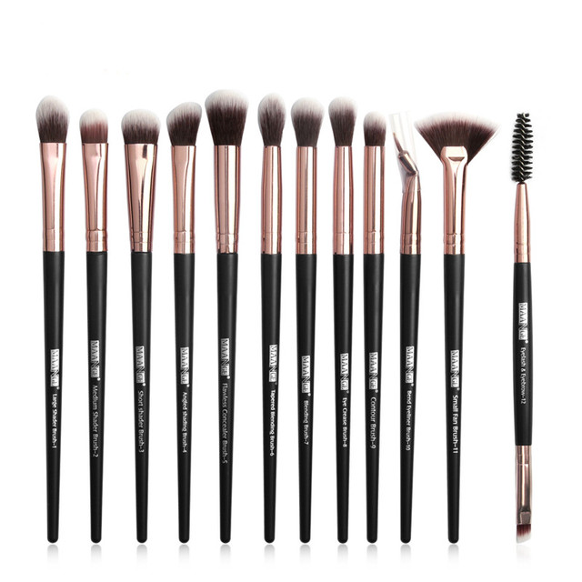 Pro Makeup Brushes Set 6/ 12 pcs Eye Shadow Concealer Blending Eyeliner Eyelash Eyebrow Blush Brushes Portable Eye Brush Set 3