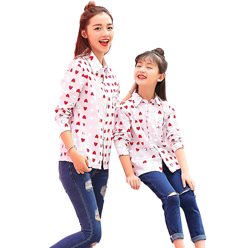 Family Look Mother and Daughter Matching Clothes Long Sleeved Shirt Mum and Me Outfits Red Sweet Loving Heart for Children Shirt