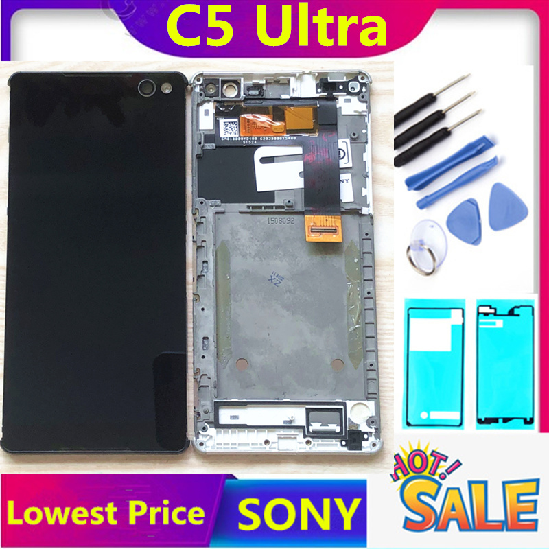 Touch Screen With Frame For SONY XPERIA C5 Ultra LCD Display Replacement LCD For SONY E5506 E5533 E5563 C5 Ultra LCD Dispaly