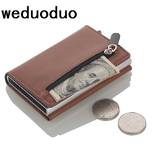 2019 Multifunction Card holder Wallets PU Leather RFID Credit Card Holders Aluminum Alloy Business ID Bank Card Protector Case business style pu aluminum alloy name card holder case silver brown