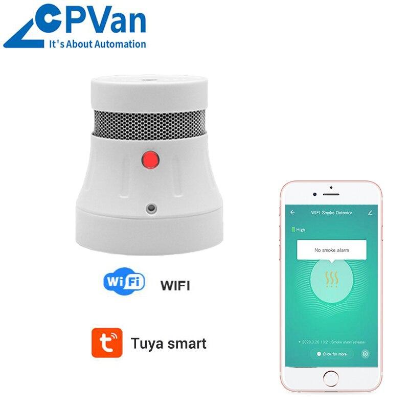 CPVan Tuya-Detector de humo WiFi, 3 años de batería, Sensor de alarma de humo inteligente para el hogar, sistema de seguridad, Detector de alarma de incendio Guantes de protección de seguridad para el trabajo, 1 par, guantes de soldadura de piel de vaca anticortes, resistentes al fuego, para cocina, resistentes al desgaste, para horno de microondas
