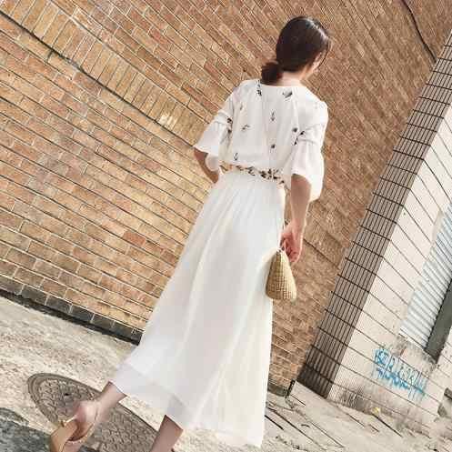 فستان ميدي أبيض طويل مطرّز موضة 2020 للشاطئ فستان نسائي صيفي أبيض فستان شيفون للحفلات DressLJ144