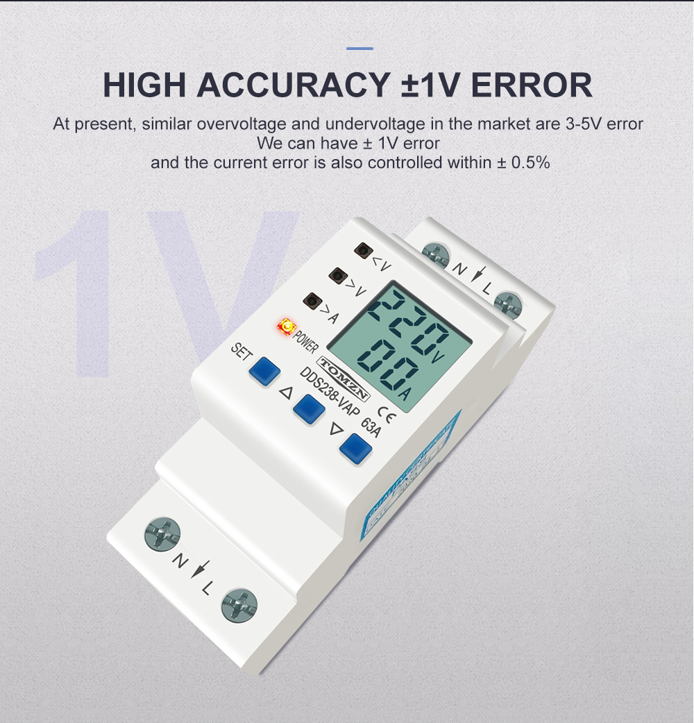 He8e3aa4bacdd479d8d3f85168287ae79F - 63A 80A 110V 230V Din rail adjustable over under voltage protective device current limit protection Voltmeter ammeter Kwh
