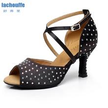 Dance-Shoes Heel Ballroom Rhineston Latin Tango Women Soft-Bottom Gilrs 6/7-