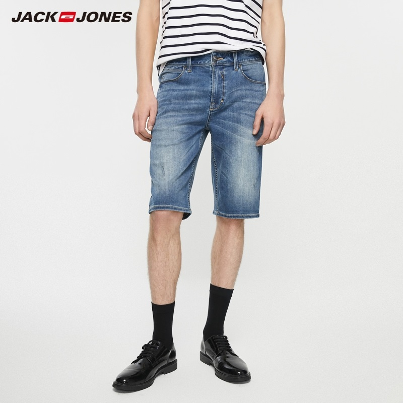JackJones Men's Slim Fit Stretch Denim Shorts Basic Menswear| 219243512