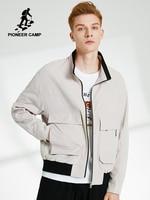 Pioneer Camp Male Bomber Jacket Oversize Zipper Stand Collar Men's Clothes Techwear Casual Black Coat Man Teen AJK908155T